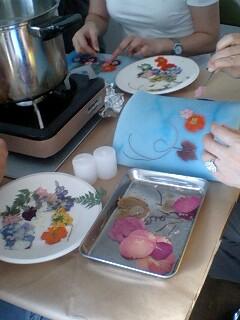 押し花キャンドル作り